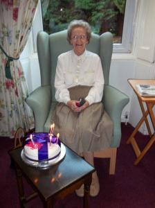 Mrs Brown celebrating her birthday